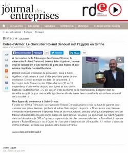 Journal des Entreprises Côtes-d'Armor. Le charcutier Roland Denoual met l'Egypte en terrine