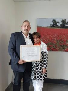 Monsieur et Madame Denoual à la remise du diplôme de la médaille d'argent CGA 2016