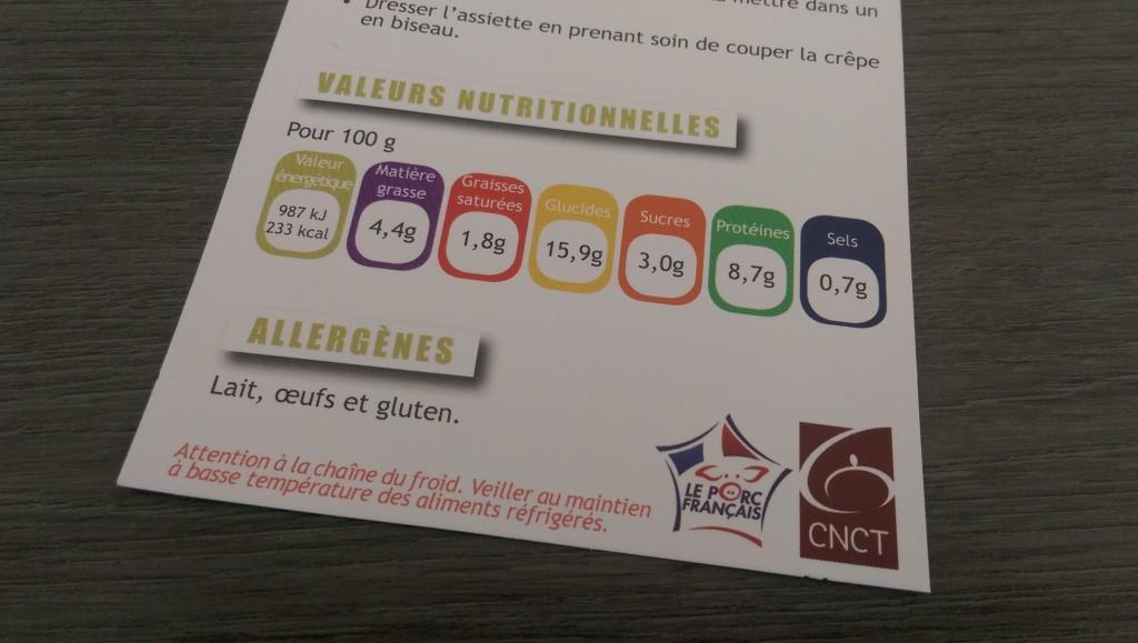 Fiche recette crêpe roulée au jambon - valeurs nutriotionnelles CNCT