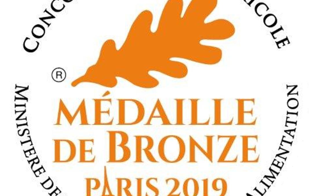 Médaille de Bronze obtenue au Concours Général Agricole 2019